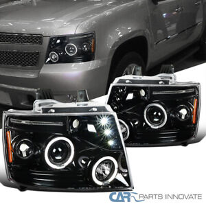 For 2007-2013 Avalanche Suburban Tahoe Pearl Black LED Halo Projector Headlights