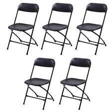 Lot 5 Plastic Folding Chairs Stackable Wedding Party Event Commercial Black