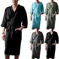 Men's Cotton Linen Pajamas Kimono Long Bathrobe Robe Dressing Summer Loungewear