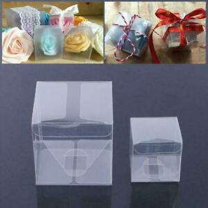 10pcs Square Transparent PVC Cube Gift Candy Boxes Wedding Clear New Party L2G3