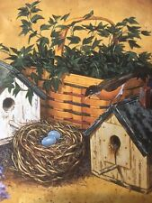 2 Longaberger Coasters With Little Birdhouse And Bird Nest With Three Blue Eggs