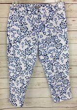 J. Jill White Blue Floral Cropped Capri Pants Size 2 Petite AS-IS