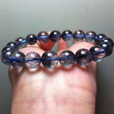 10.3mm Natural Clear Blue Hair Rutilated Crystal Quartz Beads Bracelet AAA