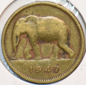 Belgian Congo 1947 2 Francs Elephant animal 195236 combine shipping