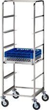 Carrello porta cestelli per lavastoviglie cm 65x65x170H acciaio inox cesti 50x50