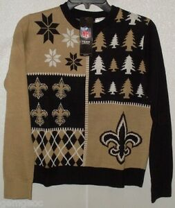 NFL New Orleans Saints Busy Block Ugly Sweater Youth Size Youth X-Large by FOCO