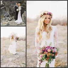 Beach Boho Bridal Sheath Bohemian Style Lace Long Sleeves Wedding Dress Custom