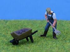 P & D Marsh OO Gauge Farmer with Pitchfork & Barrow Painted # PDZ30