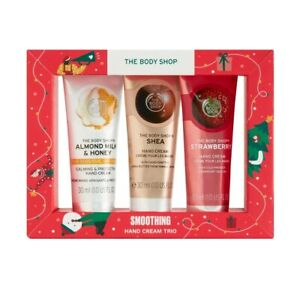 THE BODY SHOP SMOOTHING HAND CREAM TRIO TRAVEL SET 1 OZ EACH NEW