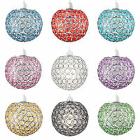 Round Chrome Clear Acrylic Crystal Ceiling Pendant Light Shade Globe Lampshade