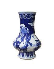 Chinese Blue White Porcelain Scenery Flower Graphic Slim Body Vase cs3610