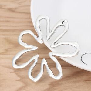 2 x Antique Silver Tone Large Hollow Open Flower Charms Pendants 65x61mm