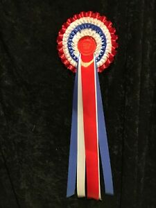 Best in show rosette with 4 tiers and 7 extra long tails. Can be personalised