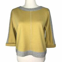 Sanctuary Clothing Color Block Zip Back Sweatshirt Yellow Gray Crop 3/4 Sleeves