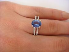 14K GOLD 1.55 CT OVAL TANZANITE AND DIAMONDS SPLIT SHANK SOLITAIRE RING,SIZE 7