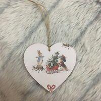 Peter Rabbit Christmas Decoration wooden hanging heart plaque Handmade 10cm