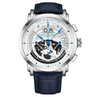 Stuhrling 928 01 Monaco Pulsometer Chronograph Date Blue Leather Mens Watch