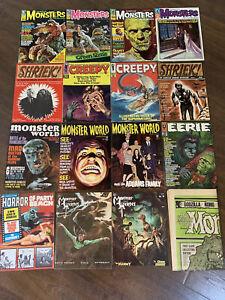 16 Vintage Monster Horror Magazines Eerie Famous Monsters Creepy VG/FN Lot 51021