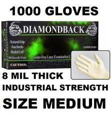 DIAMOND BACK Latex Exam Gloves, Textured Grip, 8 mil, Case of 1000, Size MEDIUM