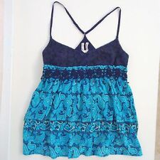 Free People Embroidered Tank Top Festival Boho Floral Camisole Womens Large Blue