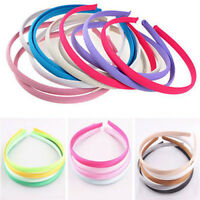 Wholesale 10PCS LOTS 10mm Colored Covered Satin Headband Plastic Hair Accessory.