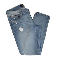 Express Womens Ankle Skinny Stella Low Rise Light Wash Distressed Jeans Size 6