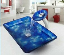 Round Sink Waterfall Spout Tempered Glass Vessel Faucets Ceramic Plate Spool New