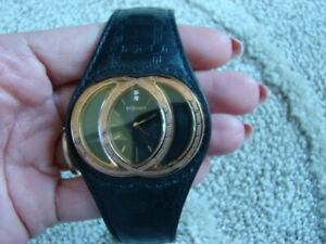 VERSACE women's BLACK leather WATCH ROSE GOLD tone