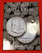 34 FRANKLIN HALF DOLLARS 50C G-AU NEW HARRIS BOOK FOLDER CHECK OUT STORE FH113