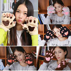 Winter Warm Women Ladies Lovely Fur Gloves Plush Fingerless Cat Claw Paw Mittens
