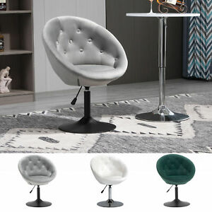 Dining Height Accent Stool Tufted Fabric Adjustable Height Armless Swivel Seat