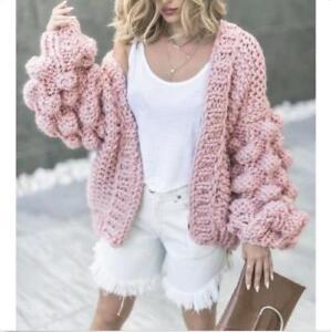 Womens Handmade Ball Puff Sleeve Sweaters Cardigans Jackets Coats Loose Thicken