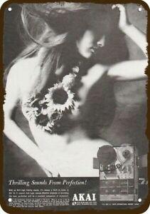 1969 AKAI M-9 TAPE RECORDER SEXY WOMAN VintageLook DECORATIVE REPLICA METAL SIGN