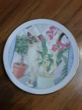 Miniature Round Glass White Floral Siamese Cat Nose In Plant