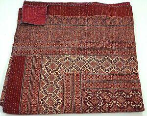 Indian Red Ajrak Hand Block Kantha Quilt Cotton Blanket Boho Bedspread King Size