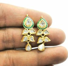 Vintage antique Solid 18K Gold jewelry Diamond Polki Earring pair India