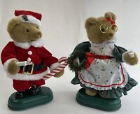 """Vintage Santa And Mrs Claus Bear Christmas Musical And Motion Lighted Decor 13"""""""