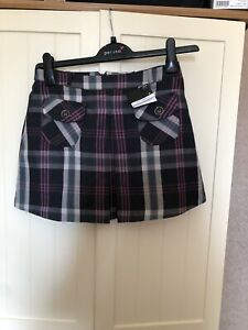 ATMOSPHERE Ladies Grey Pink Tartan Check Low Rise A Line Mini Skirt Size 8 NEW