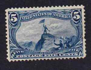 US 288 5c vivid blue mint Hinged Trans-Miss 4 margins w/gum
