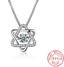 Star Of David 925 Sterling Silver & Crystal Pendant Necklace Jewish Magen Shield
