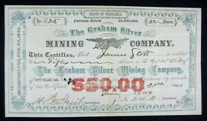GRAHAM SILVER Mining Company Stock Certificate - 1879 - Nebraska - Colorful