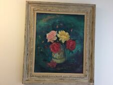 ORIGINAL FLORAL OIL  PAINTING SIGNED WILLIAM EARL SINGER LISTED AMERICAN ARTIST
