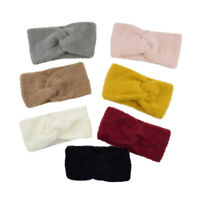 Women Imitation Mink Cashmere Headband Cross Knot Fluffy Bow Hairband Headwrap