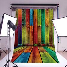 Retro Rainbow Wood Board vinyl photography Backdrop Background props 3X5FT DB492