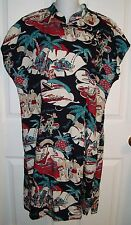 Pau Hana Hawaii Dress Medium M Hawaiian Pineapples Palms Mauna Loa Waikiki