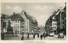 "France Strasbourg Strasburg - Place Gutenberg Tramway on Route ""4"" old postcard"