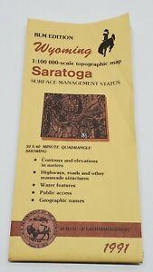 Vtg Wyoming Saratoga USGS BLM Edition Topographic Folding Map 1991 30X60 Rare