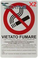 2X CARTELLO 20X30 CM PVC TARGA SEGNALE VIETATO FUMARE LEGGE ARTICOLO