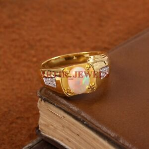 Natural Opal Gemstone with Gold Plated 925 Sterling Silver Ring for Men's #4347