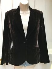 Hennes Brown Velvet Silk Blazer Jacket 8 Lined Bell Flute Sleeves